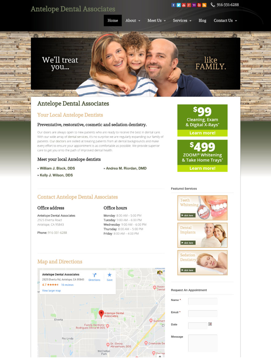 Antelope Dental Associates Website
