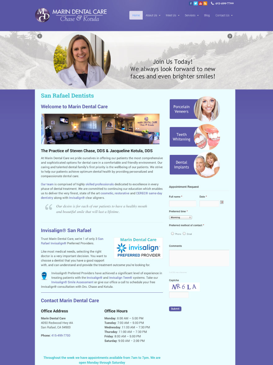 Marin Dental Care Website
